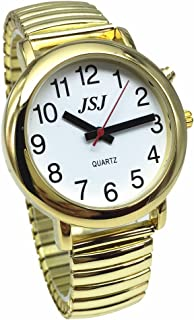French Talking Watch for Blind People or The Elderly and Visually Impaired People with Alarm of Quartz, Talking Date and time, Golden Color, White Face