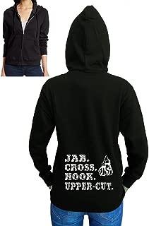 Junior's Jab. Cross. Hook. Upper-Cut. Boxing Gloves Black Fleece Zipper Hoodie