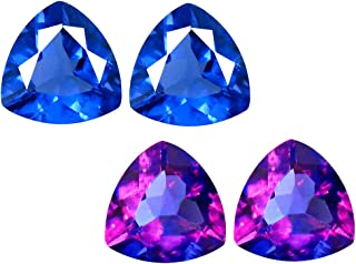 Deluxe Gems 2.71 ct Matching Pair Triangle Cut (7 x 7 mm) Color Change from Blue to Purplish Red Fluorite Natural Gemstone