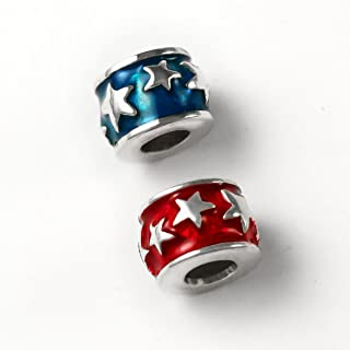 Star Spangled Charm Bead - 925 Sterling Silver Add-A-Bead Style Charm for Bracelets like Pandora - Celebrate 4th of July in Style