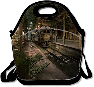 Reusable Lunch Thermal Tote Bag for Abandoned Train Station Work and School Outdoor Picnic Hiking Beach Fishing Meal Package Washable Insulated Waterproof Boxes Adjustable Shoulder Strap