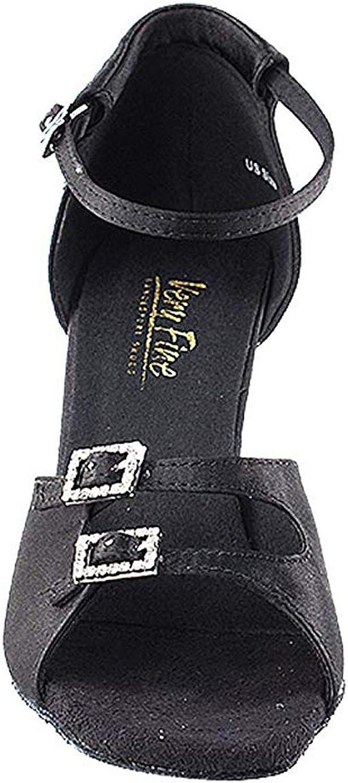 Very Fine Women's Salsa Ballroom Tango Latin Dance shoes Style 1620 Bundle with Plastic Dance shoes Heel Predectors, Black Satin, Heel 2.5 Inch, 7.5 M US