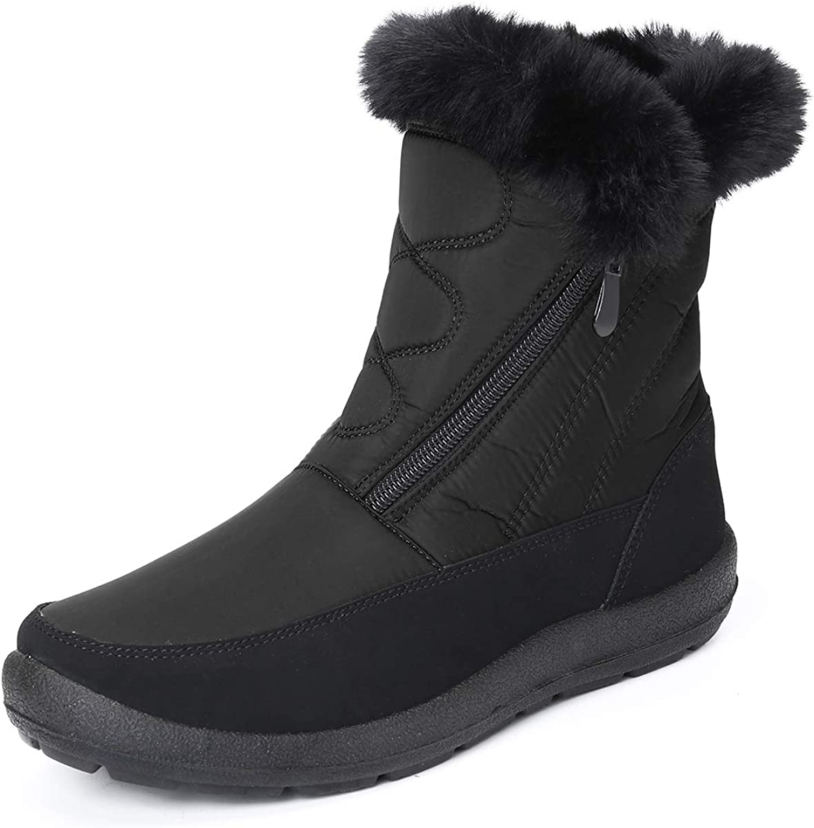 Camfosy Snow Boots for Women Men, Winter Fur Lined Warm Boots Outdoor Comfort Waterproof Ankle Booties Side Zipper Shoes