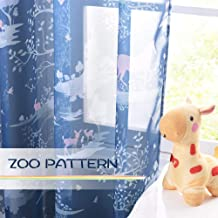 KGORGE Colorful Cartoon Print Imaginary Zoo Animals Shapes Window Decor, Privacy Sheer Curtain Drapes Prevent Light Glare Sunlight Filter, (2 Panels, W 52 in x L 95 in, Navy Blue Background)