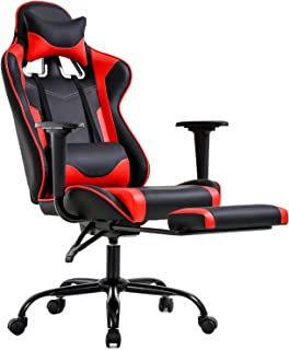 Gaming Chair Office Chair Ergonomic Desk Chair with Footrest Arms Lumbar Support Headrest..