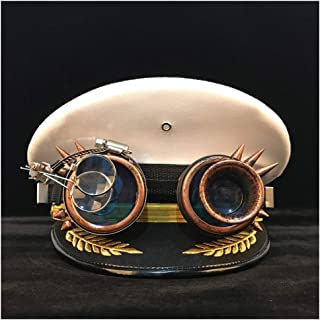 Songlin @ yuan Steampunk German Official Visor Cap hat Gear Glasses Leather Military Cap Police Cap Role Playing Halloween hat Multi-Size (Color : White, Size : 56cm)