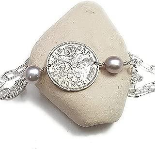 Sixpence bracelet. Sixpence coin bracelet. Pearl bracelet. Six pence jewelry