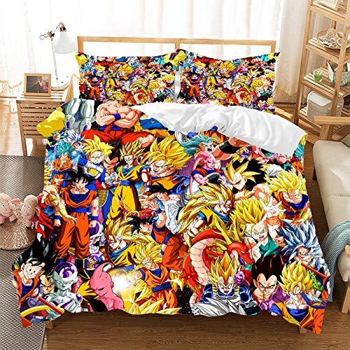 Juego de ropa de cama para niños, diseño de Dragon Ball Super Manga con funda de edredón y funda de almohada, tamaño pequeño, microfibra supersuave, regalo para niños (200 x 200 cm)