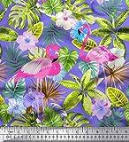 Soimoi Lila Seide Stoff Flamingo, Tropische Blätter &