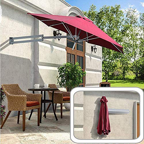 FCXBQ Ombrellone da Esterno a sbalzo per ombrellone a Parete 220 x 220 cm Ombrellone orientabile Rotondo in Alluminio con Supporto a Parete