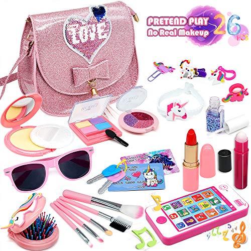 Enjoybot Kids Pretend Makeup Toy Grils - 2021 Newest 26Pcs Kids Makeup Kit for Girls ,Fake Makeup Toy Girl Gifts,Kids Play Pretend Makeup Set , Best Girl Gifts for 3/4/5/6/7year