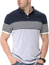 fanideaz Mens Cotton Half Sleeve Striped Polo T Shirt with Collar