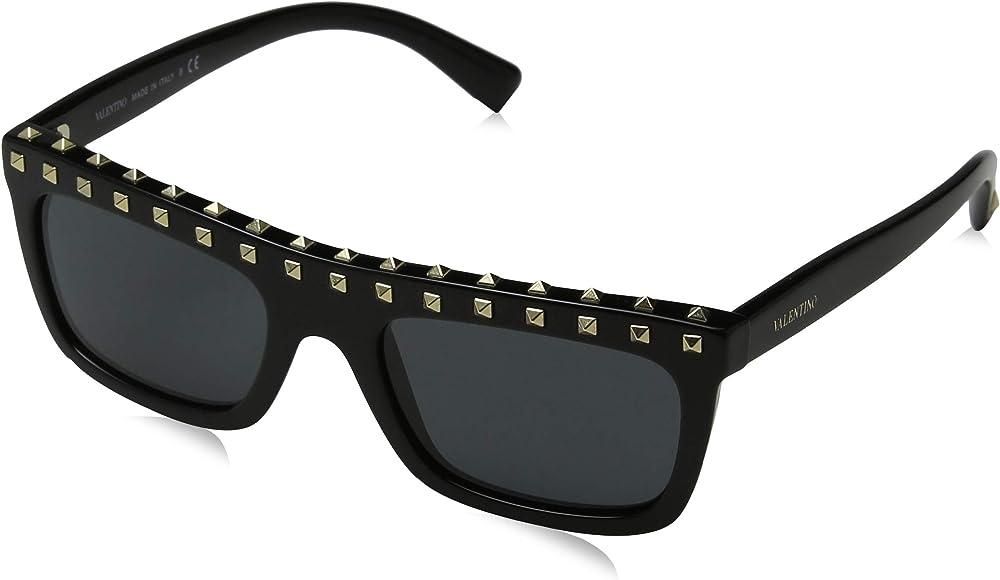Valentino, occhiali da sole da donna, montatura con borchie, nero(black/smoke) VA4010 500187