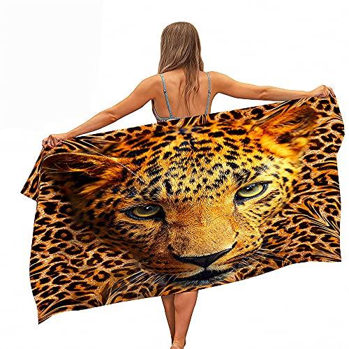 Grande Asciugamani Spiaggia Teli Bagno Assorbimento Dell'acqua Asciugatura Veloce Microfibra Leopardo Bestia Grande Gatto Coperta Nuoto Spa Viaggi Yoga Sport Campeggio Lettino (Colore2,70x150cm)