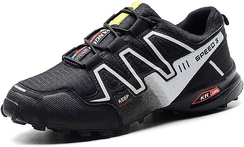 SELCNG Chaussures de randonnée pour Hommes, Chaussures de Sport tout-terrain-noir-47