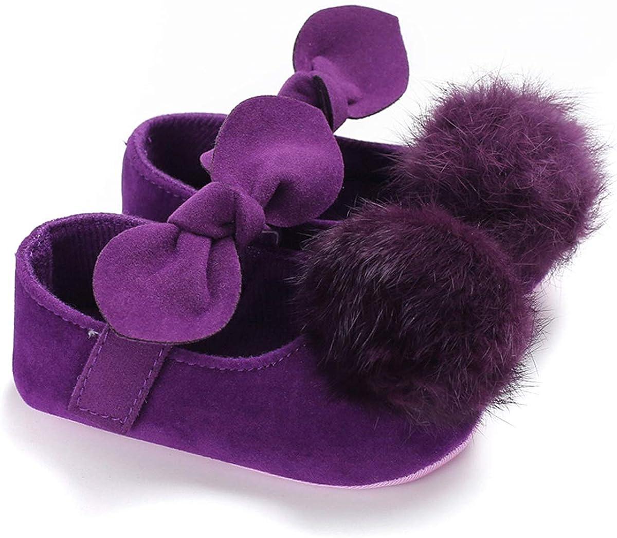 Newborn Baby Girl Fuzzy Ball Prewalker First Walking Shoes Soft Sole Flat Shoes