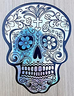 OSMdecals - Deluxe Silver Holographic Mexican Sugar Skull Hologram Stickers Version 117 - Day of the Dead Waterproof Car Decal Bumper Sticker
