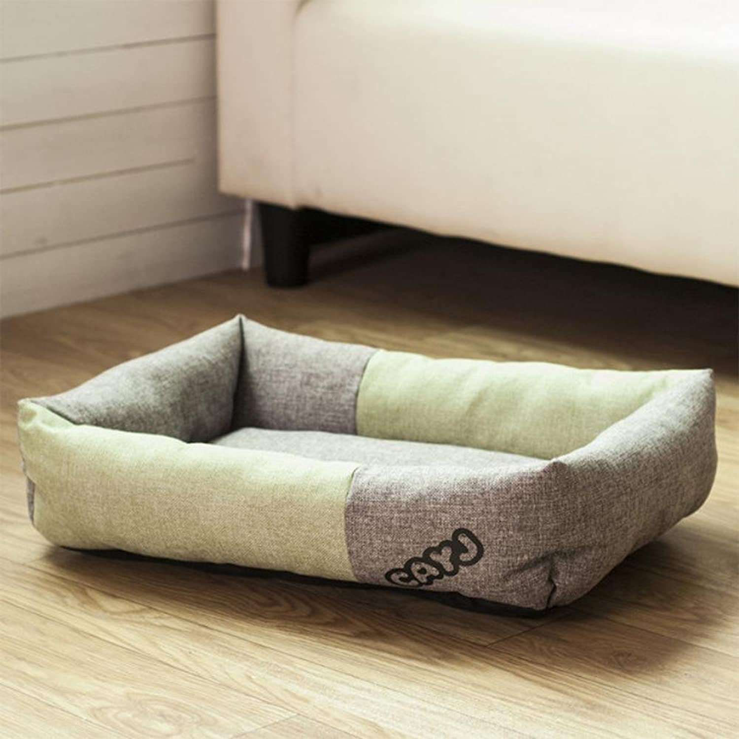 Desti Flakes Pet Bolster Dog Bed Comfort Cloth Square Pet nest (color   A, Size   53  60cm)