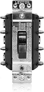 Leviton MS303-DS 30 Amp 600 Volt, Three-Pole, Three Phase AC Motor Starter, Suitable as Motor Disconnect, Toggle, Industrial Grade, Non-Grounding, Black