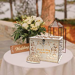 O-heart DIY Wood Wedding Card Box, Rustic Gift Box with Lock Wedding Money Box Hollow Hearts Shaped Gift Card Box and Card Sign for Wedding Reception Baby Shower Birthday Party Graduation Anniversary
