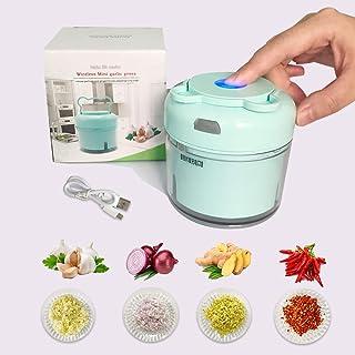 BOHAI Powered Food Chopper, Onion Chopper Vegetable Crusher for Nuts & Seeds, Professional Garlic Mincer & Ginger Press (blue)