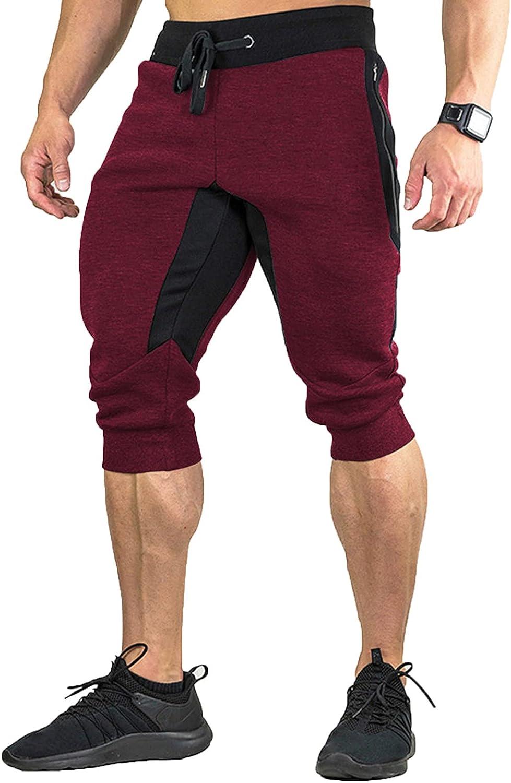 Summer Men's Gym Shorts Lightweight High Elasticity Athletic Shorts Zip Pockets Patchwork Running Training Pants Red