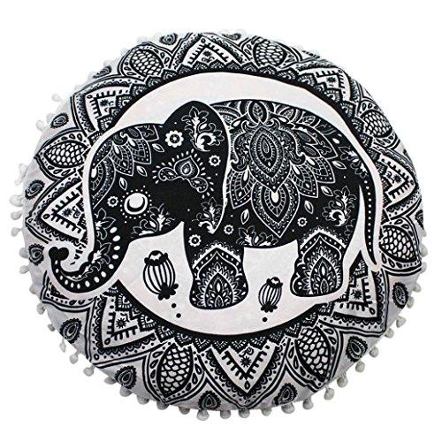 Huhu833 Große Mandala Boden Kissenbezug, Indische Mandala Boden Kissen runde böhmische Kissen Kissenbezug Haus Dekoration 80 * 80cm (Q)