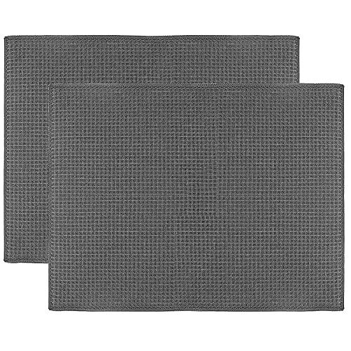 Ulable Trockenmatte, Mikrofaser, schnelltrocknend, Abtropfmatte für Küche, Tisch-Zubehör, Maschinenwäsche (Grau)
