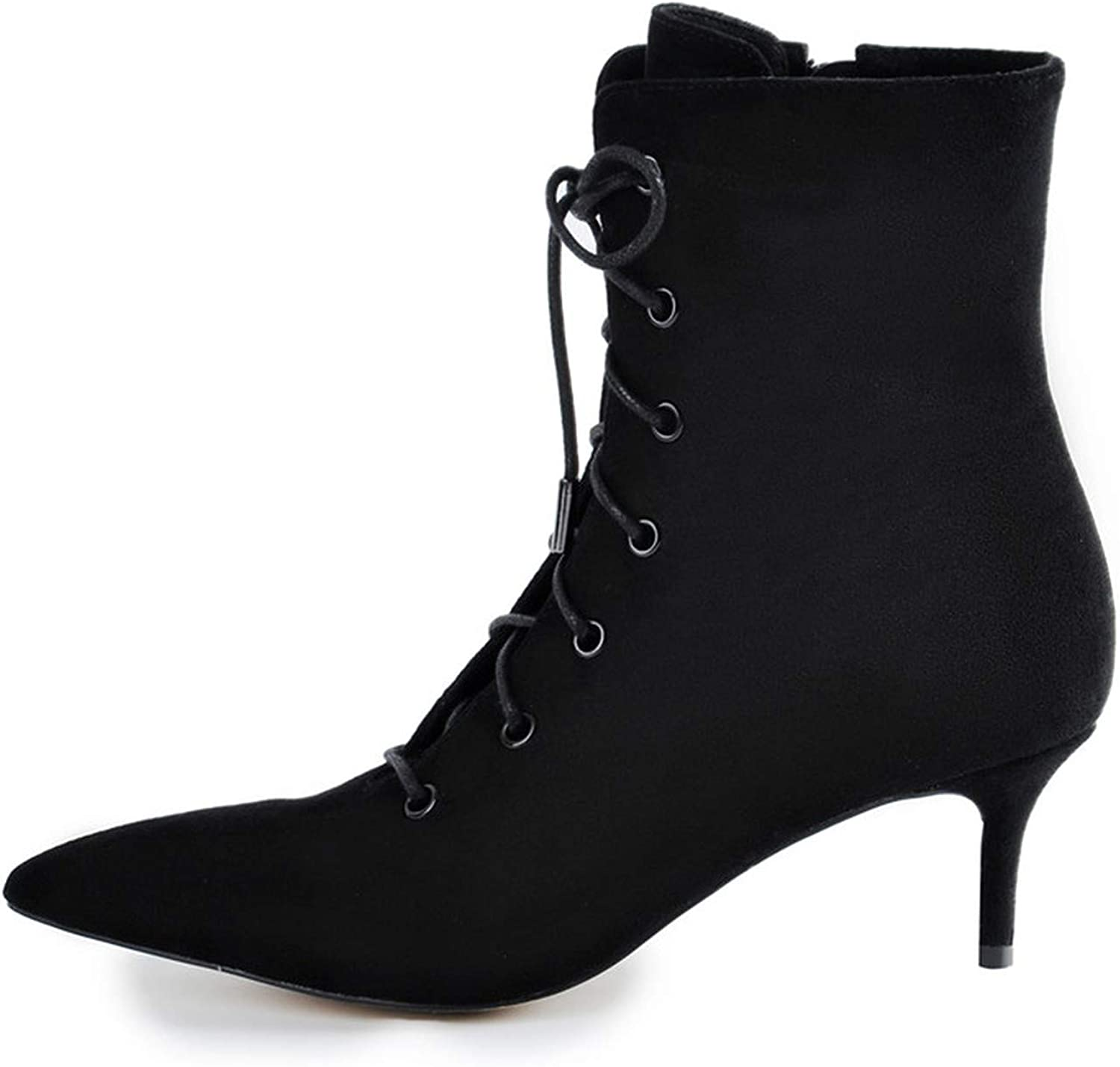 Crazy-shop Women's Animal Print Low Heel Ankle Bootie Pointed Toe Lace Up Comfortable Walking Boots