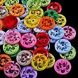 Saniswink - 100 botones de resina con 2 agujeros para costura, álbumes de recortes, tarjetas, manualidades, 14 mm, resina, As Picture Show, talla única