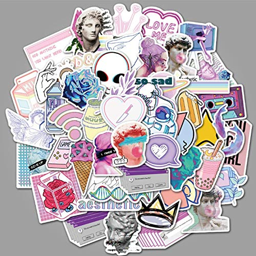 BUCUO Arte Abstracto de Dibujos Animados Graffiti Impermeable monopatín Maleta de Viaje teléfono móvil Equipaje Pegatinas Lindos Juguetes para niñas y niños 50 Uds