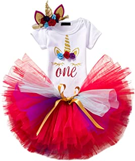 Unicorn Outfits Baby Girl Romper + Ruffle Tutu Skirt + Headband First Birthday Party Clothes 3PCS Set