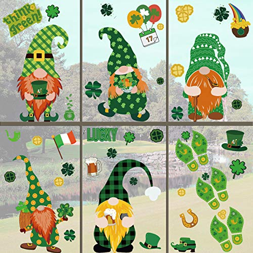 Kalolary 241Pcs St Patrick#039s Day Decorations Window Clings Static Window Stickers Shamrock Irish Clover Leprechaun Green Hat Gold Coins Window Decals for Home Office Party Decorations15 Sheets