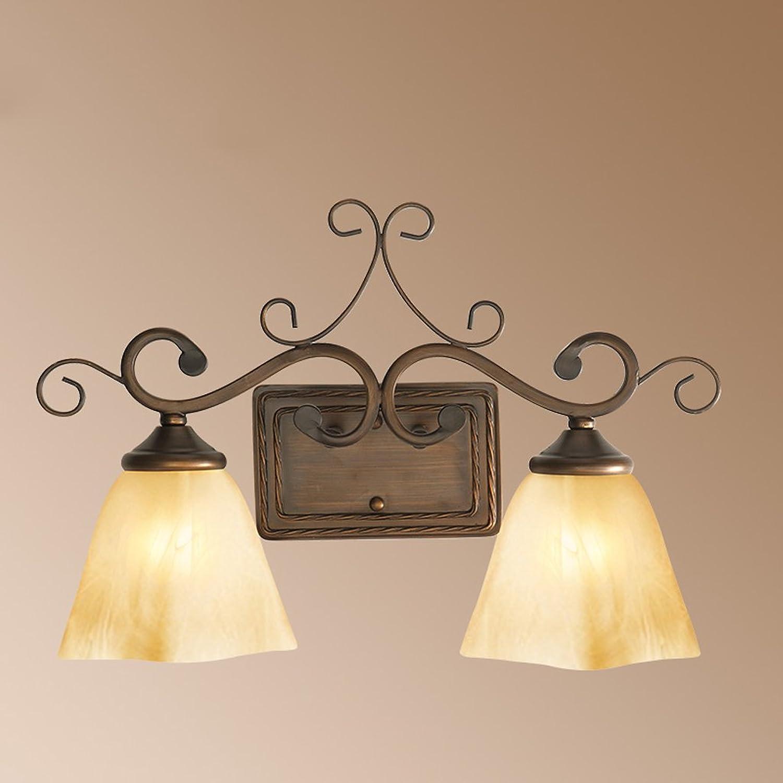 Amerikanischer Spiegel Lampe Gang Schmiedeeisen Schlafzimmer Nachttischlampe lndlichen Wohnzimmer Wand Doppelwandleuchte