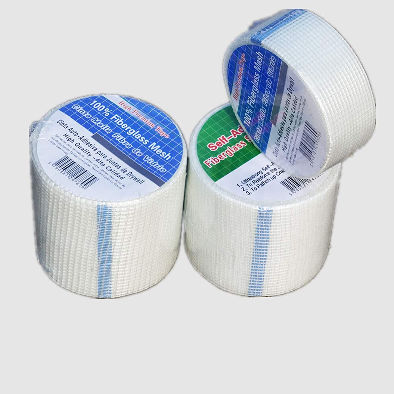 Yikai Self-Adhesive Fiberglass Mesh Backeboard Joint Alkali Resistent Mesh Construction Tape Roll - 1.8