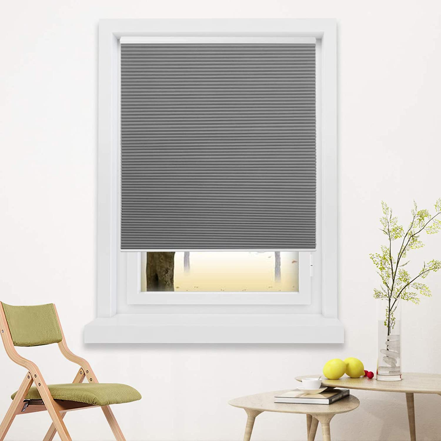 27x64 inch Blackout Cellular Blinds Cordless Shade Honeycomb Shades Window Fabric Blinds Grey-White