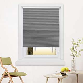 Window Blinds Cordless Cellular Shades Blackout Fabric Blinds Honeycomb Shades Grey-White, 35x64 inch
