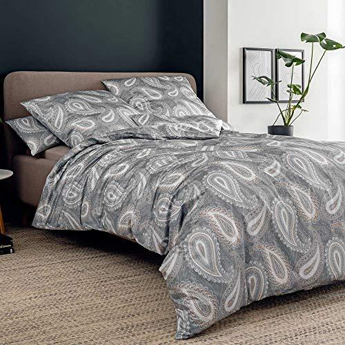 ESTELLA Bettwäsche Rauch | 135x200 + 80x80 cm | bügelfreie Interlock-Jersey-Qualität | pflegeleicht und trocknerfest | ideale Vier-Jahreszeiten-Bettwäsche | 100% Baumwolle
