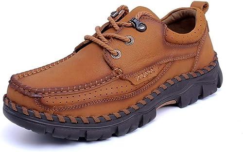 Fang chaussures, Chaussures Chaussures à Lacets Style Chaussures Oxford Chaussures pour Hommes Chaussures Formelles Ox Cuir Creux Semelle Extérieure Simple Pure Couleurs (Couleur   Kaki, Taille   44 EU)  top marque