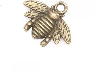 HUELE 60 Pcs Brass Plated Metal Lovely Bee Honeybee Charm Pendant (20.5x16MM)