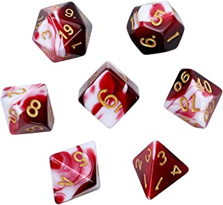 Polyhedral Dice, Transparent Red and White Gem DND Dice Set-7Pieces for RPG MTG Table Games Dice with Velvet Dice Bag