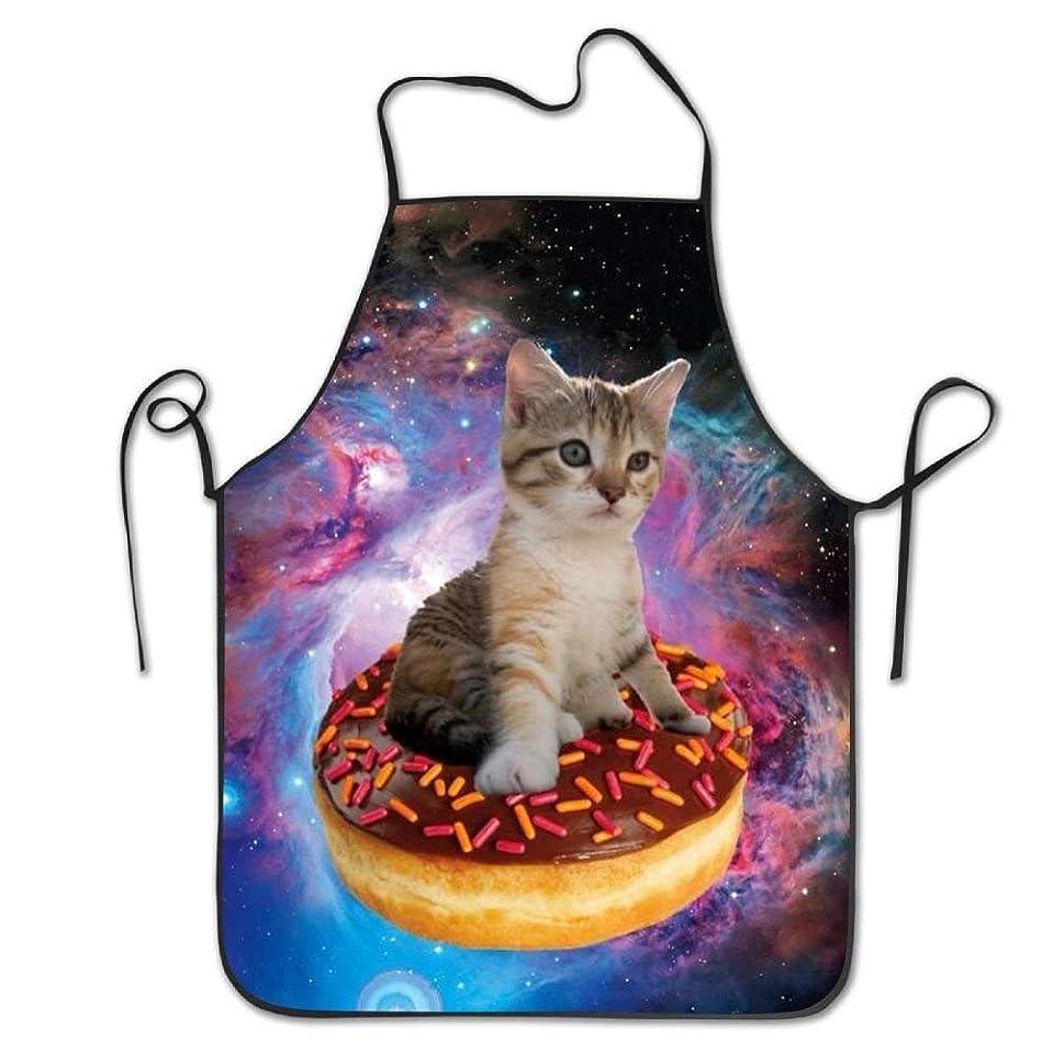 限られた辞任する頑固なKittens Cats In Space Donut Cooking Aprons Professional Bib Apron For Women Men Girl Kids Gifts Kitchen Decorations