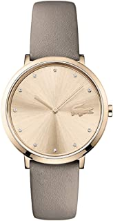 Lacoste Moon 2001039 - Reloj de cuarzo para mujer (acero inoxidable, correa de piel de becerro), color gris