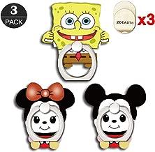 ZOEAST(TM) 3 Pack Phone Ring Grip Sponge Bob Minnie Mickey Universal 360° Adjustable Holder Car Desk Hook Stand Stent Mount Kickstand Compatible with iPhone 11 Pro Max XR XS X Plus iPad (3pcs Cartoon)