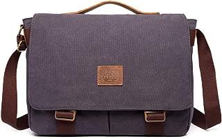 Messenger Bag for Men Vintage Canvas Real Leather 15-inch Laptop Briefcase (Blue)