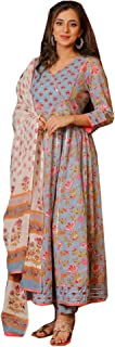 Blue Traditional Wear Indian Women Long Anarkali Cotton Printed Gown Dress Gota Lace Sequence Kurti Bollywood Suit