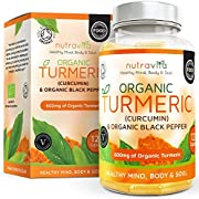 Nutravita Organic Turmeric 120 Vegetarian Capsules of 600mg Curcumin & Organic Black Pepper with Non-GMO, No Fillers, and No Magnesium Stearate