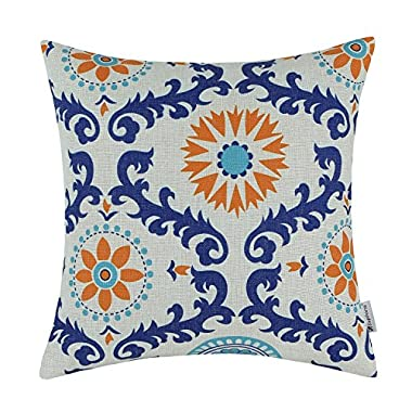 CaliTime Canvas Throw Pillow Cover Case for Couch Sofa Home Decoration Three-Tone Dahlia Floral Compass Geometric 18 X 18 inches Turquoise Blue/Orange / Blue