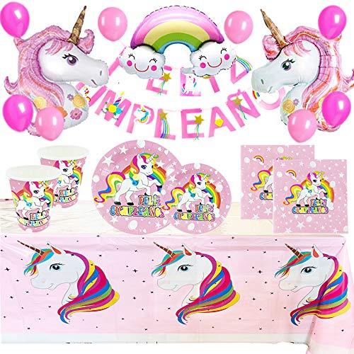 Pack Completo de Cumpleaños Unicornio para Infantil Niña - Set de Decoración Cumpleaños con Globos,Guirnalda Feliz Cumpleaños y Kit de Vajilla Desechable-Platos,Vasos,Servilletas,Mantel(Color Rosa)