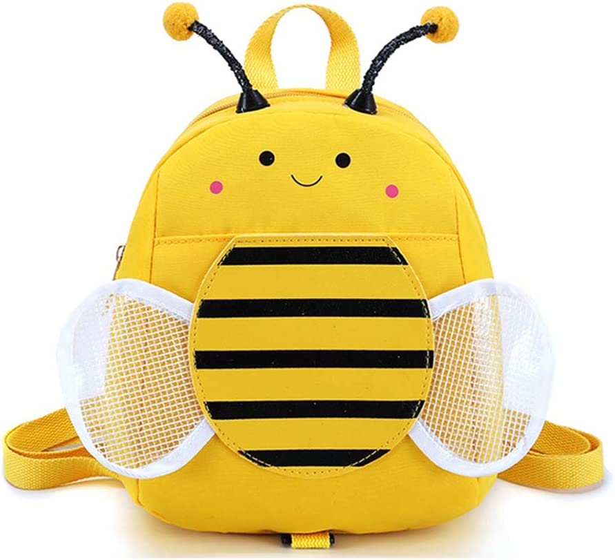 Bansusu Cute Honeybee Baby Walking Safety Harness Mini Backpack Anti-lost Toddler Girls Boys Snack Bag Daypack with Safety Leash